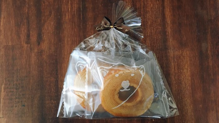 低カロリースイーツ店レディーベアのバウムクーヘンしろくまの輪パッケージ