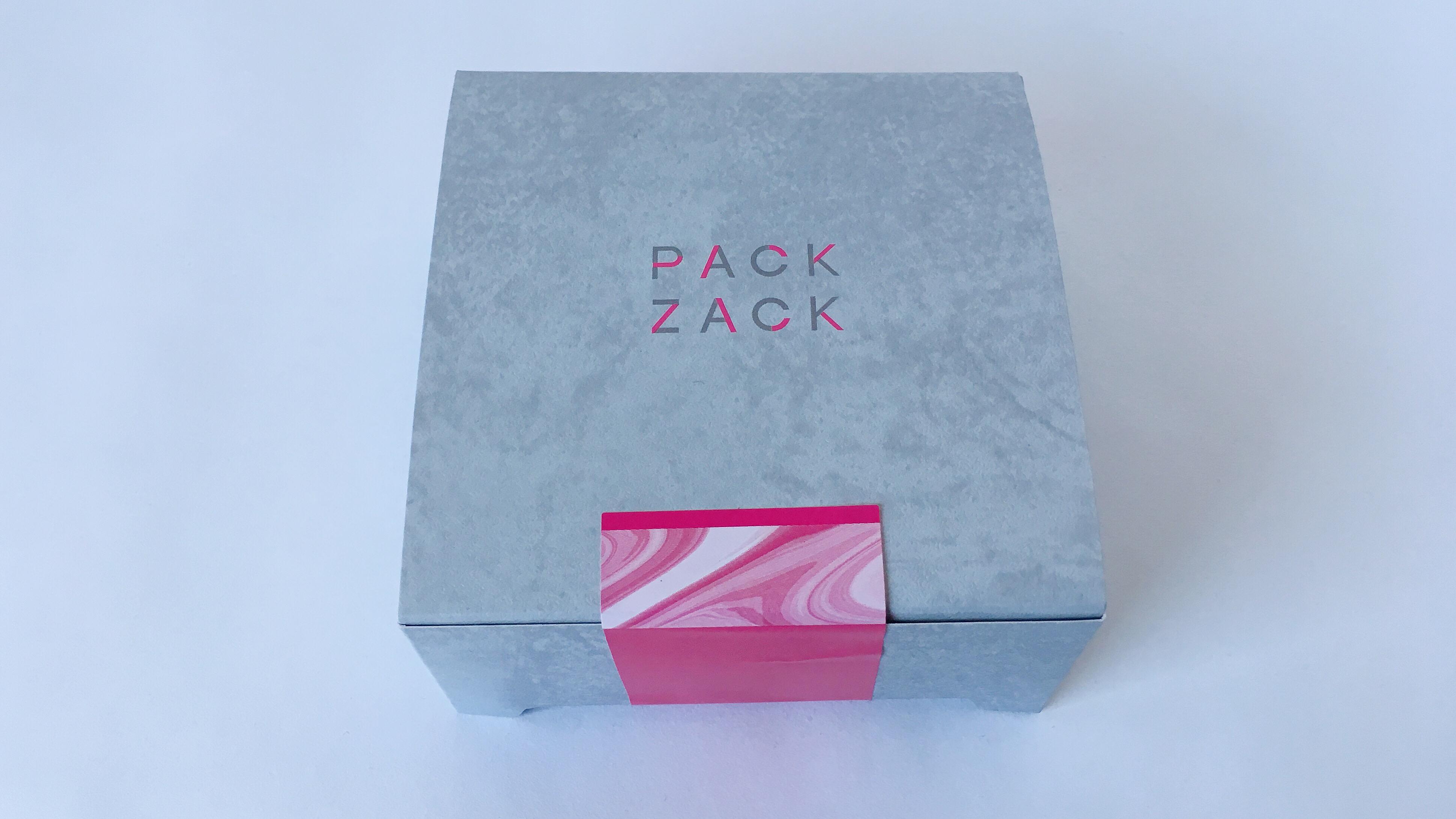 エキア池袋にオープンしたザクザクとろけるショコラ専門店パックザックのピンクとグレーがおしゃれなパッケージ