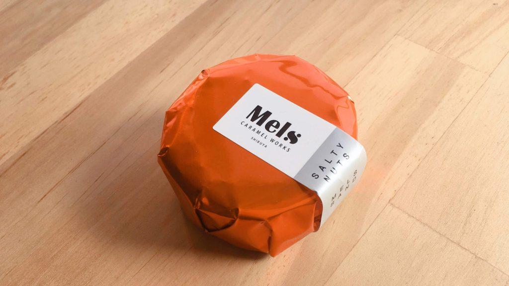メルズキャラメルワークスのオレンジ色のおしゃれなパッケージデザイン